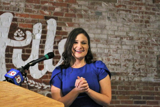 Abby Finkenauer speaks after winning in the 1st Congressional District