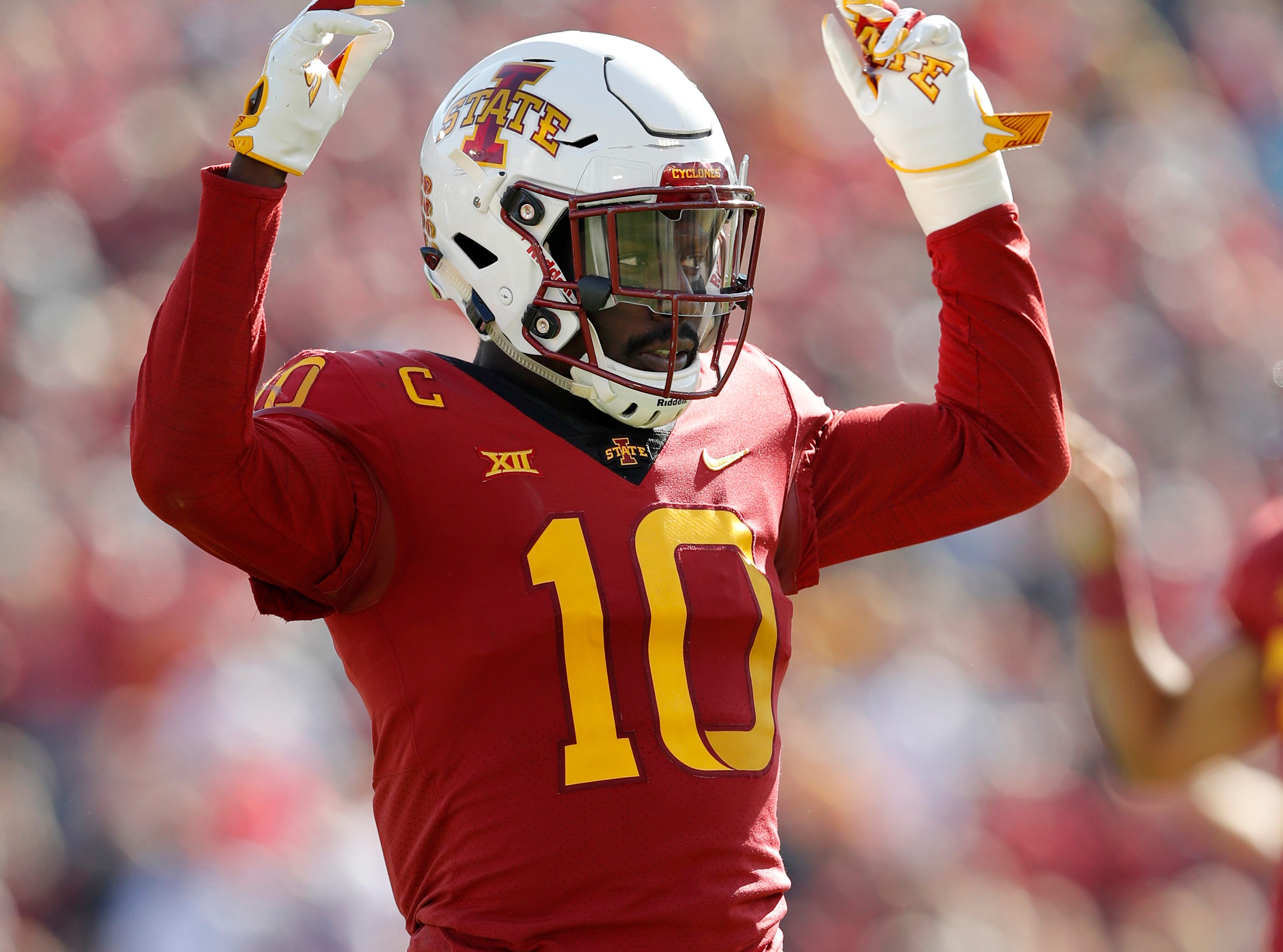 Iowa State defensive back Brian Peavy reacts during the first half of an NCAA college football game against Texas Tech, Saturday, Oct. 27, 2018, in Ames, Iowa.