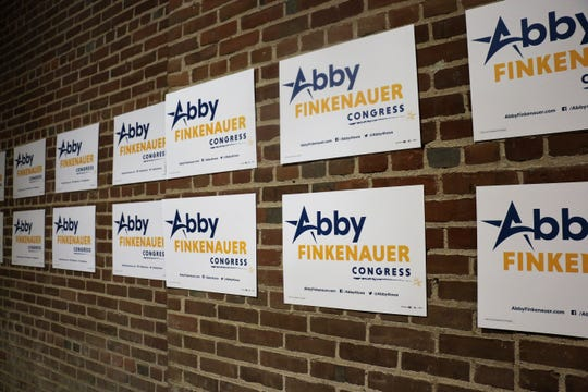 The stage is set for the Abby Finkenauer victory party at 7 Hills Brewery.