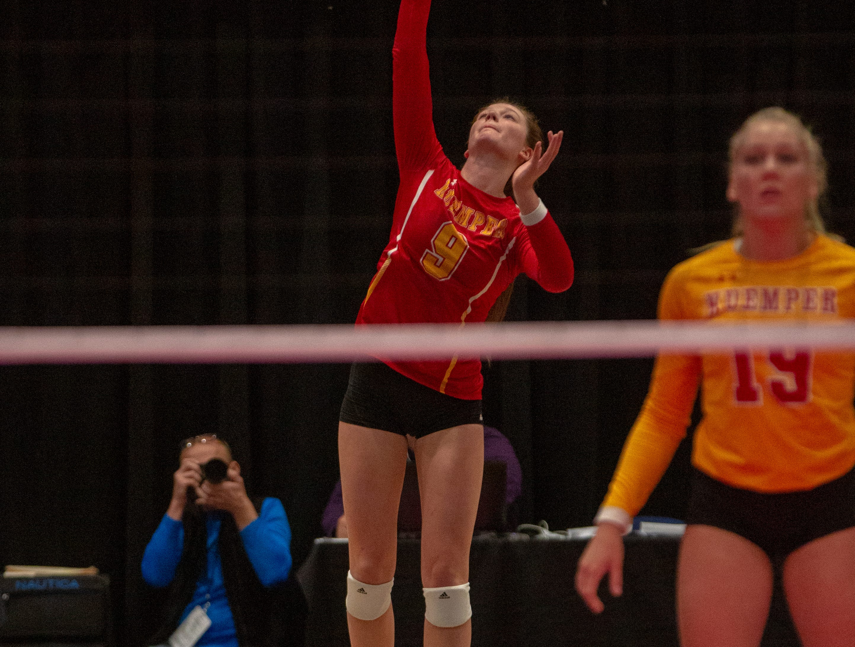 Kuemper's Kara Peter serves during quarterfinal action at the Iowa state volleyball tournament in Cedar Rapids.