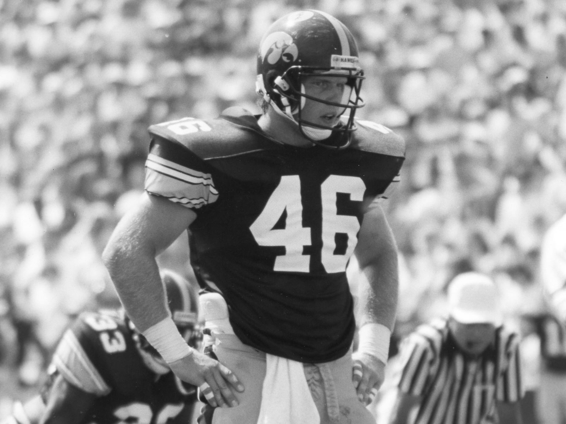 Matt Whitaker is pictured in this 1991 file photo provided by the University of Iowa.  Whitaker played tight end for the Hawkeyes from 1988-1992.  On Wednesday, Nov. 7, 2018,  Whitaker was named acting Attorney General after Attorney General Jeff Sessions resigned.