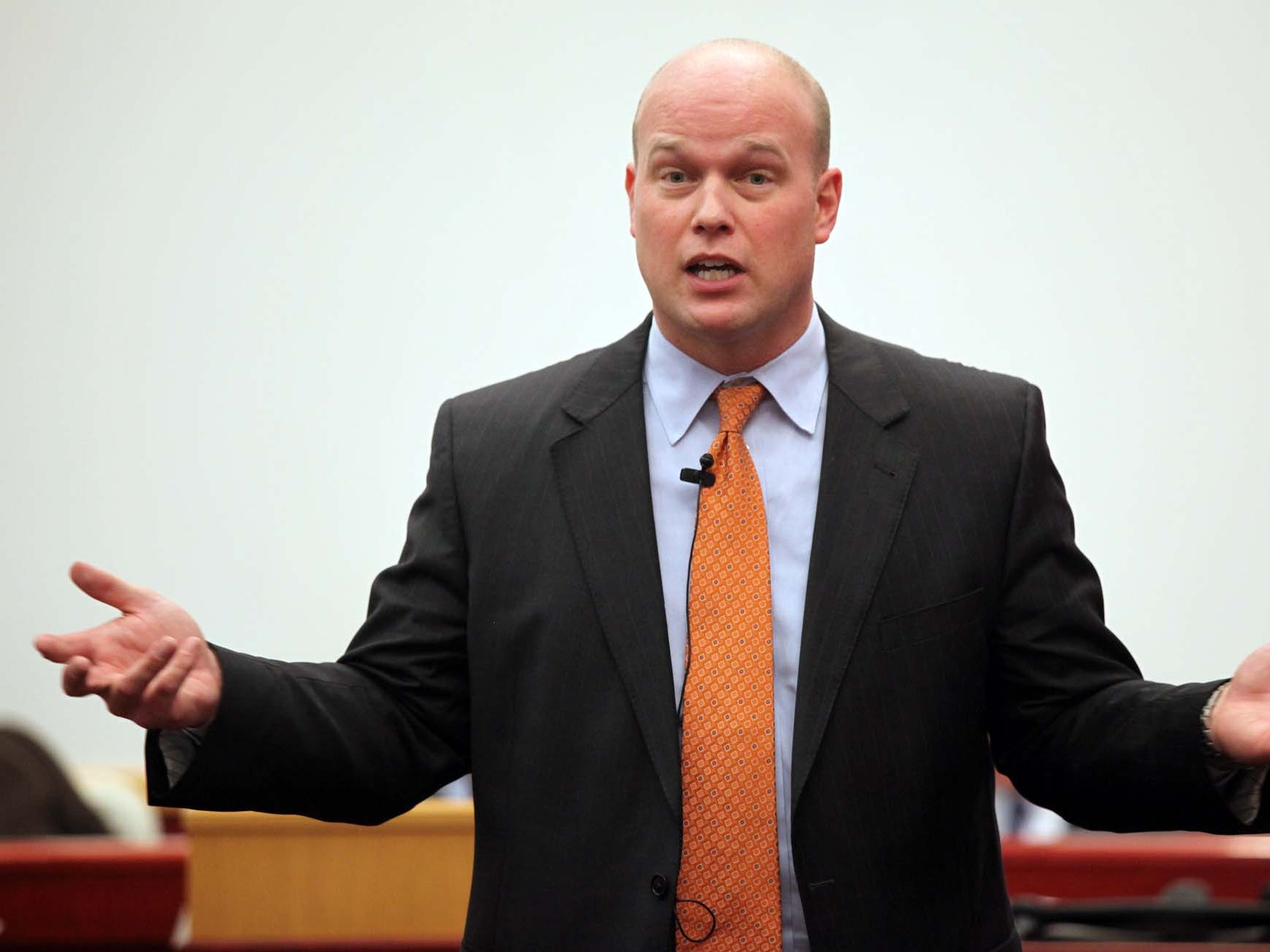 From February 2011: Defense attorney Matt Whitaker makes his opening statement during the trial of Wendy Weiner Runge on the campus of Drake University in Des Moines.
