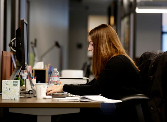 Stephanie Lipuma, 24 of Rochester is one of 100 employees at the Google Detroit offices inside the Little Caesars Arena in Detroit on Wednesday, Nov. 7, 2018. The new office  opened up in mid-August.