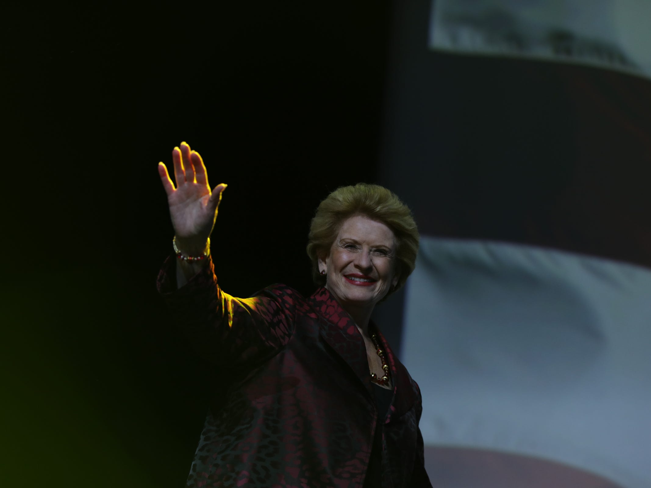 U.S. Senator Debbie Stabenow greets her supporters during the Democratic watch party celebration at MotorCity Casino's Sound Board in Detroit on Tuesday, Nov. 6, 2018.