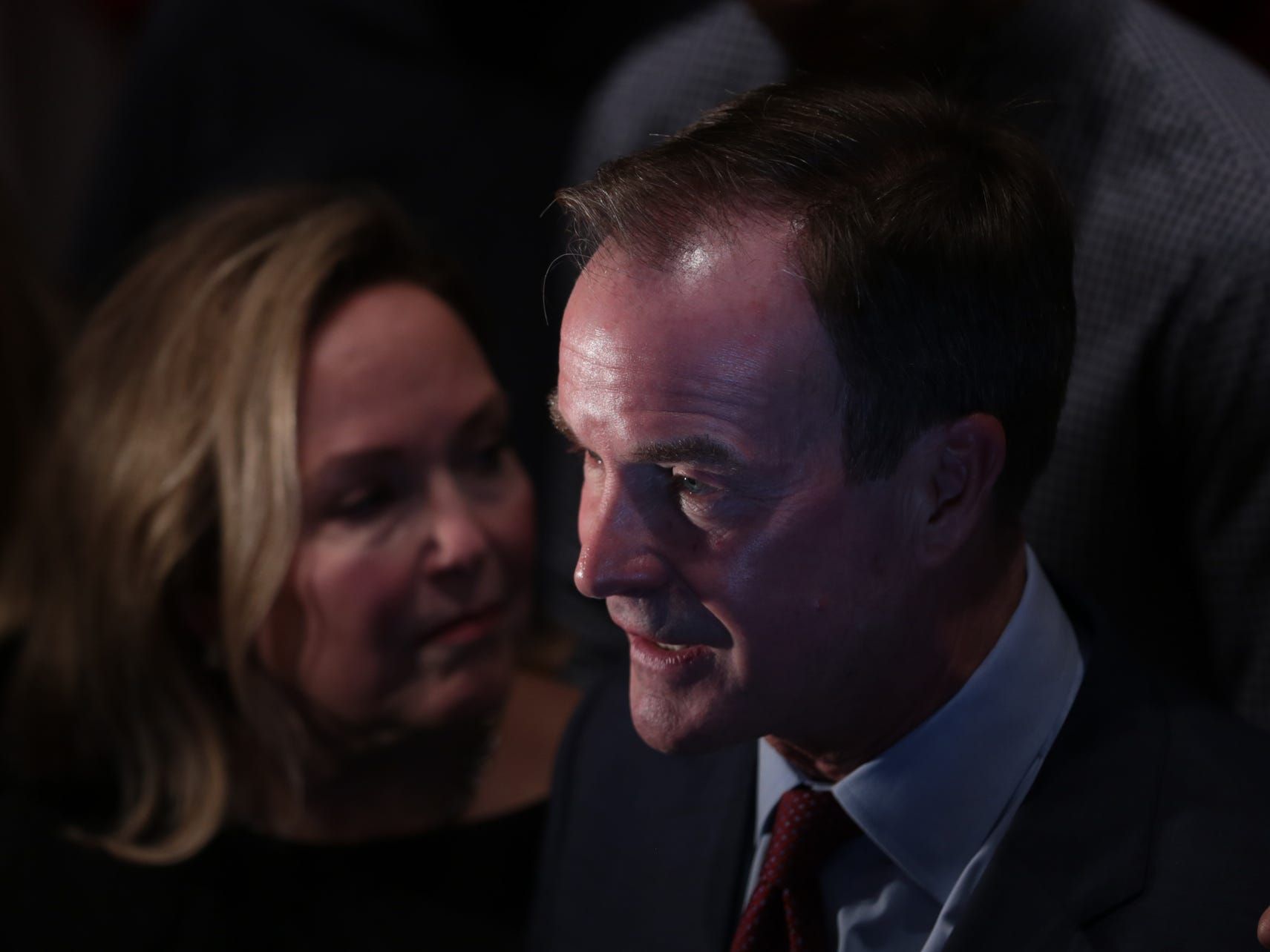Republican gubernatorial candidate Bill Schuette speaks with press after losing in Michigan's governor race during the Michigan Republican elections night party at the Lansing Center in Lansing on Tuesday, November 6, 2018.