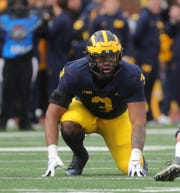 Michigan's Rashan Gary lines up during action against Penn State, Nov. 3, 2018 at Michigan Stadium in Ann Arbor.