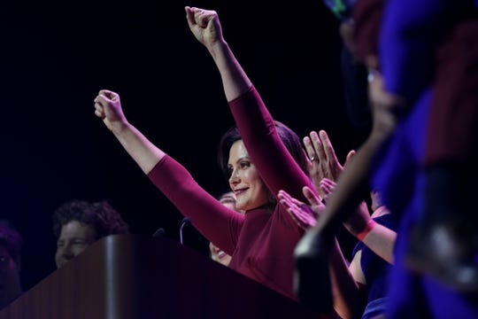 Gretchen Whitmer celebrates her victory during a celebration at MotorCity Casino's Sound Board in Detroit on Tuesday, Nov. 6, 2018.