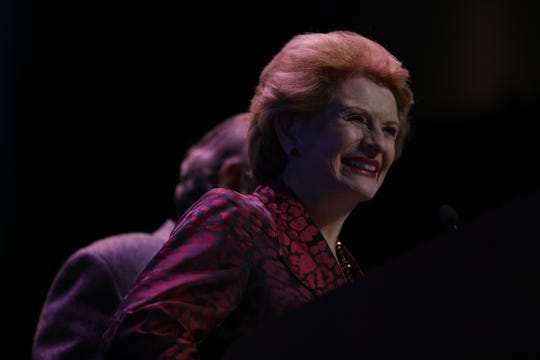 U.S. Senator Debbie Stabenow talks to her supporters in Detroit on Tuesday, Nov. 6, 2018.
