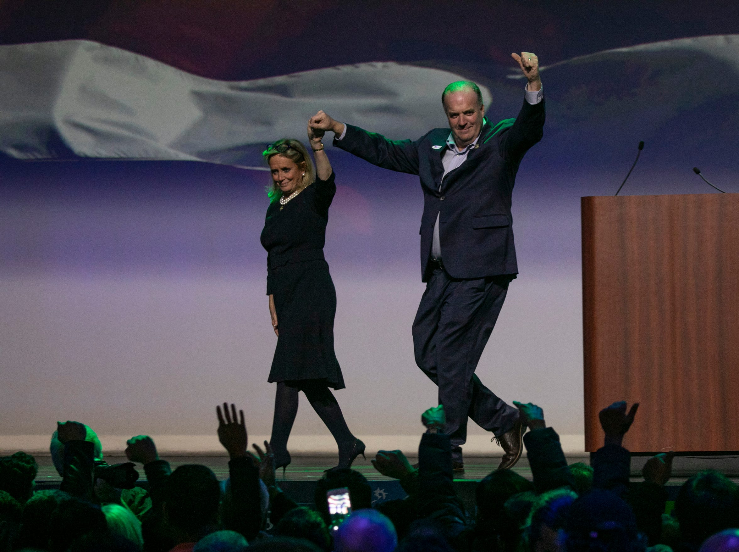 Congresswoman Debbie Dingell and Dan Kildee address the crowd during the watch party held at the Sound Board in the MotorCity Casino in Detroit Tuesday, Nov. 6, 2018.