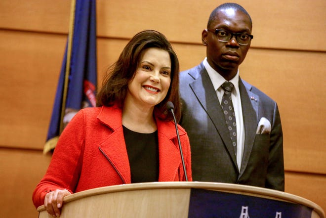Gretchen Whitmer, governor-elect of Michigan, holds a press conference with her lieutenant governor-elect Garlin Gilchrist II at Motor CityCasino Hotel in Detroit on Wednesday, Nov. 7, 2018.