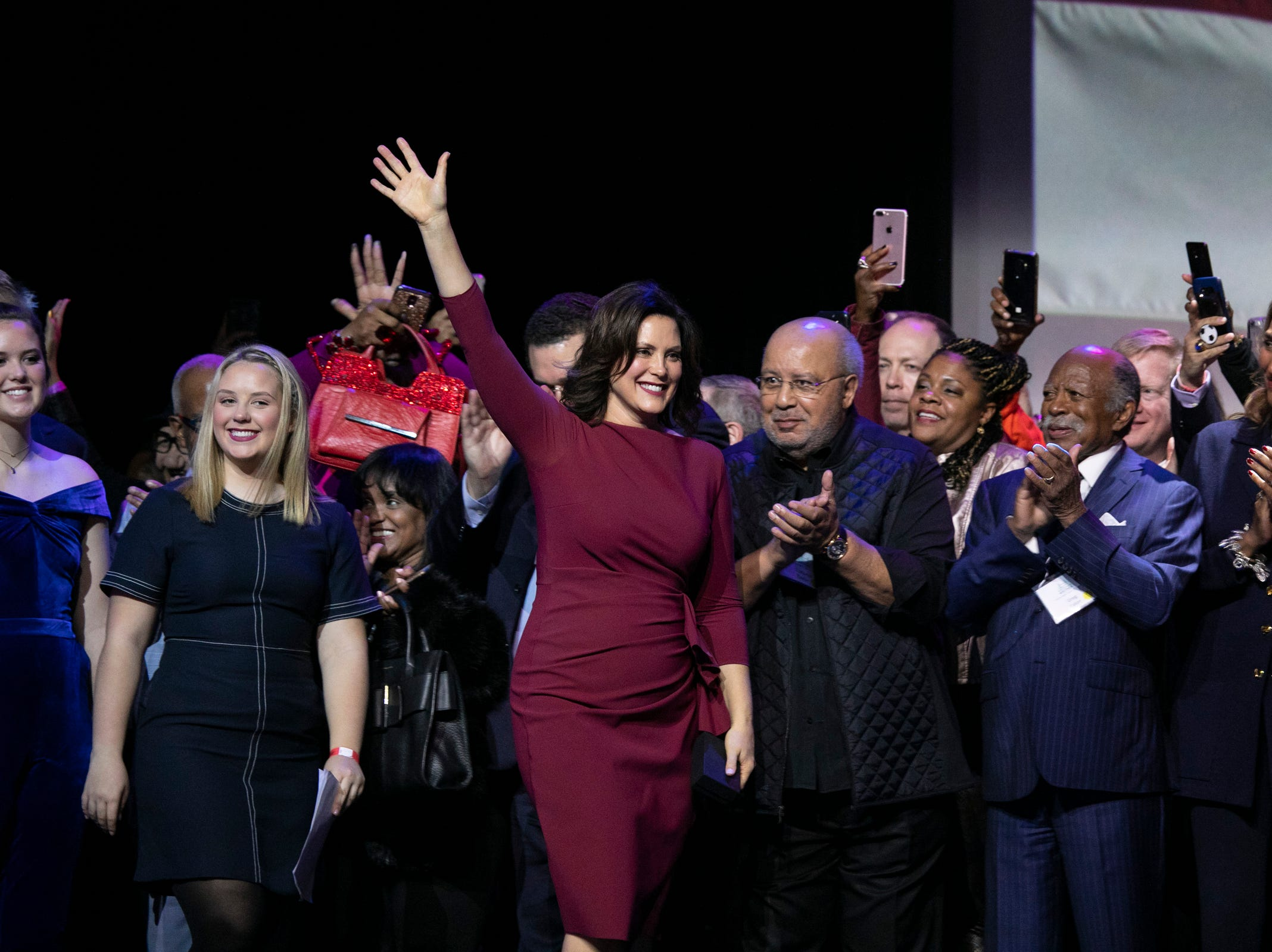 Michigan Governor elect Gretchen Whitmer celebrates her victory during the watch party held at the Sound Board in the MotorCity Casino in Detroit Tuesday, Nov. 6, 2018.