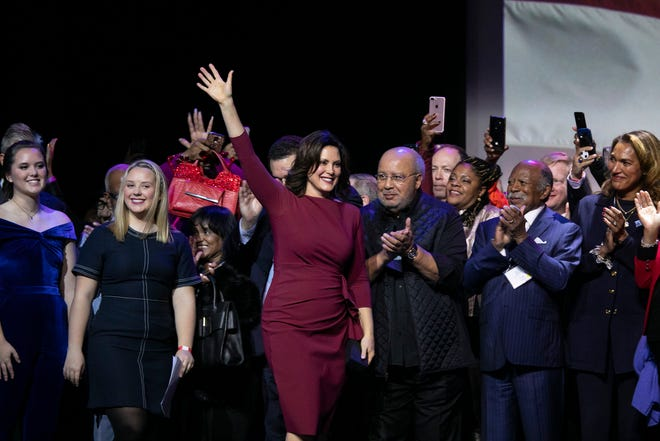 Michigan Governor-Elect Gretchen Whitmer celebrates her victory during the watch party at the Sound Board in the MotorCity Casino in Detroit Tuesday, Nov. 6, 2018.