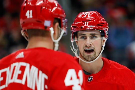 The Red Wings aren't ready yet to name Dylan Larkin (right) captain, but Luke Glendening will be named alternate captain.