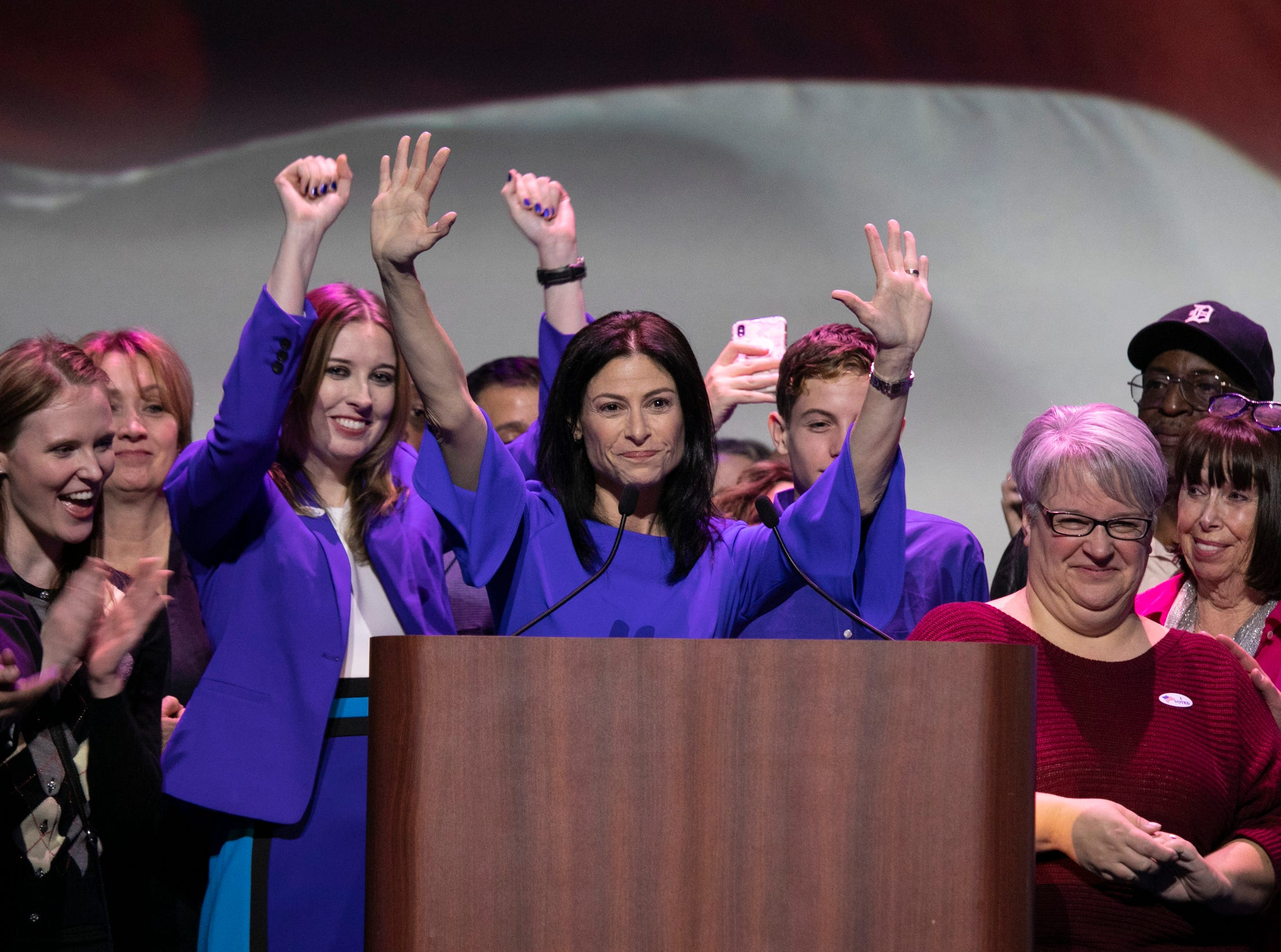 Dana Nessel, who is running for Michigan Attorney General speaks to supporters during the watch party held at the Sound Board in the MotorCity Casino in Detroit Tuesday, Nov. 6, 2018.