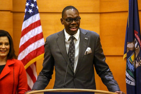Lieutenant Governor-elect Garlin Gilchrist II speaks to the media at the start of a press conference at MotorCity Casino Hotel in Detroit the day after the midterm elections on Wednesday, Nov. 7, 2018.