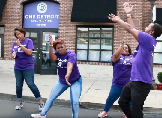 From left, Shay Gilstrap, Reyonna Orr, Sarneisa Whigham and Diangelo Thomas are doing the keke challenge dance outside the Highland Park Branch as a credit union industry wide challenge to get the company's name in the public eye. In turn the challenge led the Michigan Credit Union League to accept our challenge and add an incentive for credit unions to participate.
