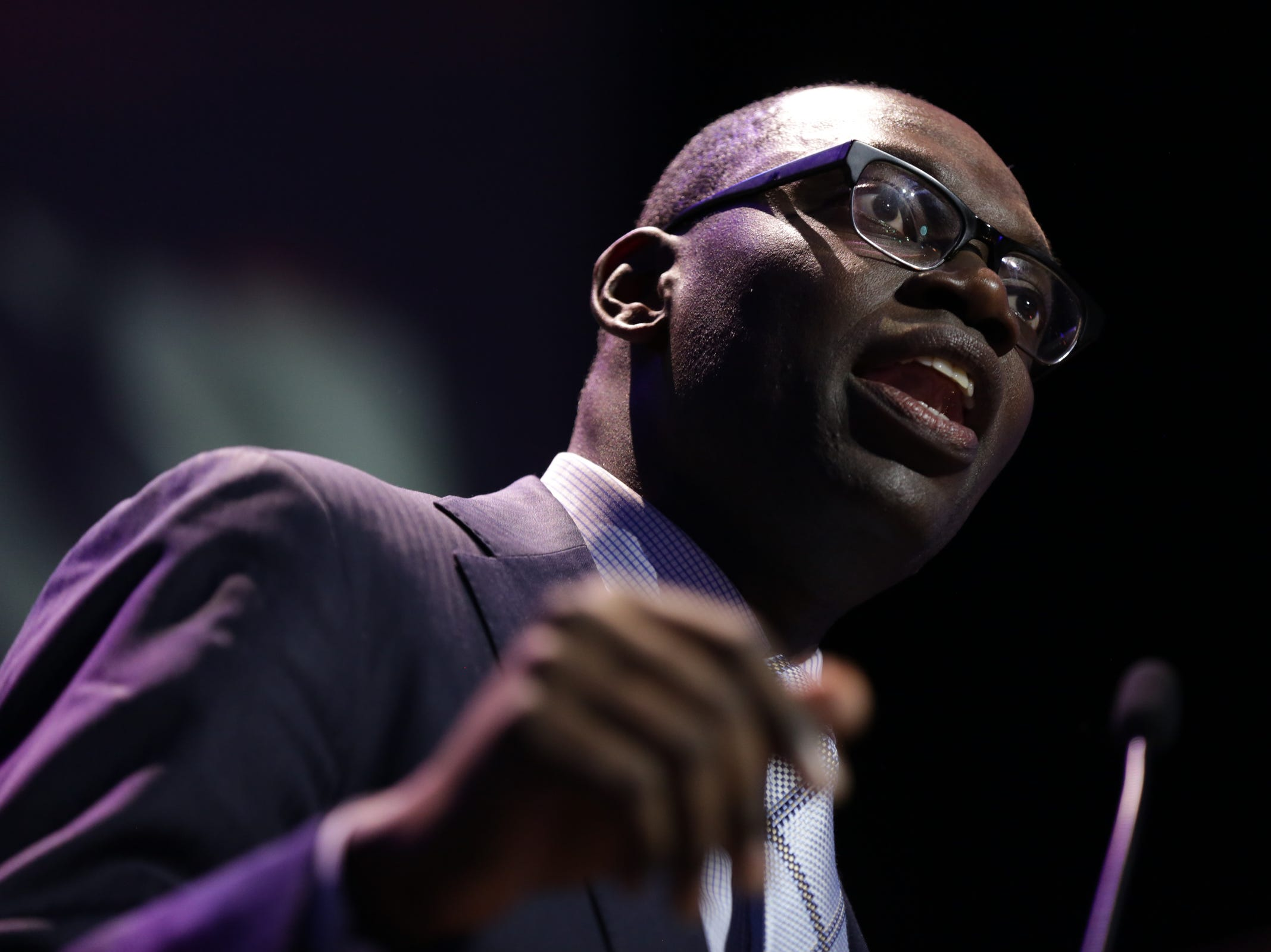 Garlin Gilchrist delivers his victory speech as lieutenant governor with Gretchen Whitmer as governor during a celebration at MotorCity Casino's Sound Board in Detroit on Tuesday, Nov. 6, 2018.