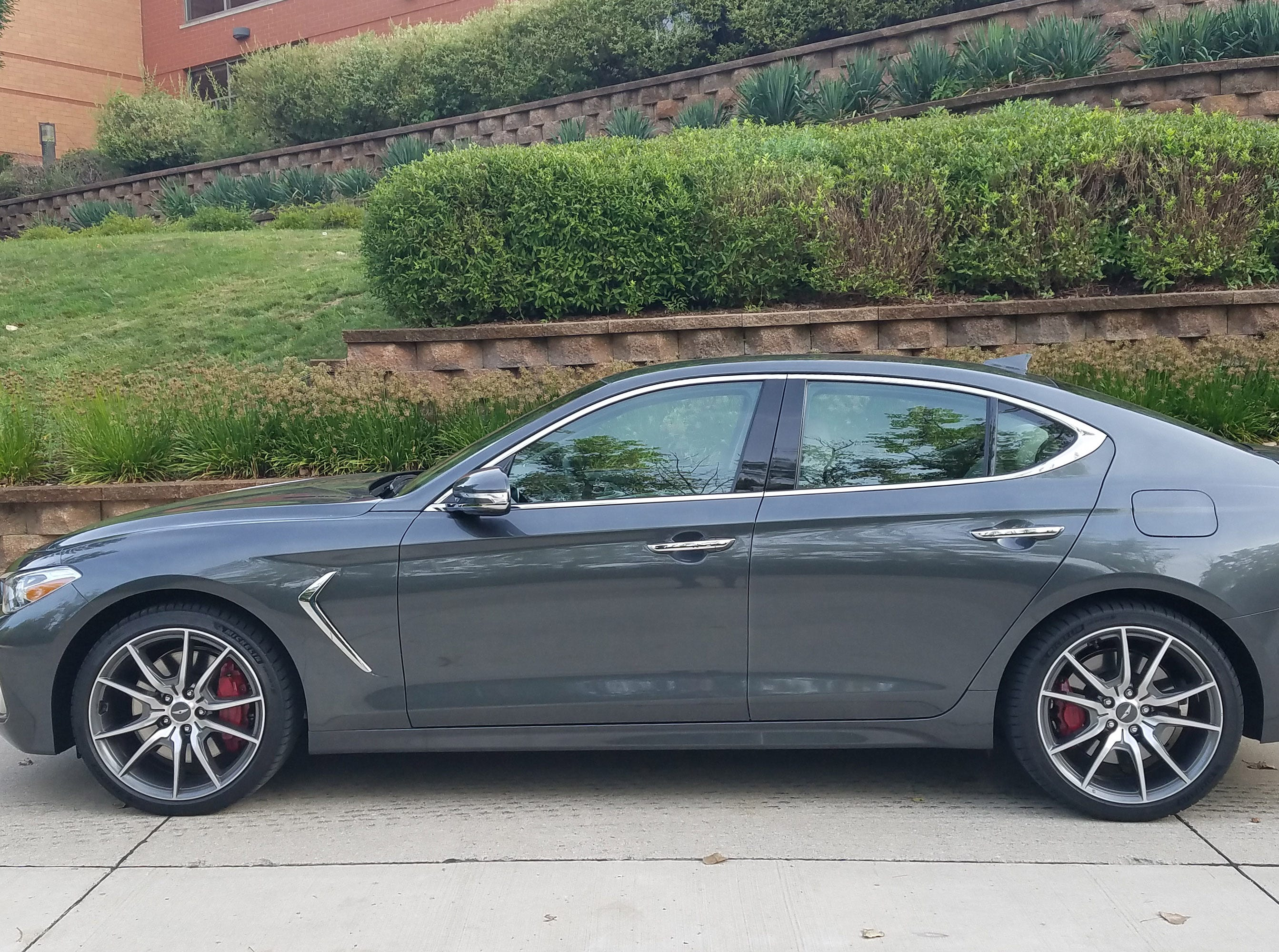 Rear-wheel-drive proportions. With its long hood and front wheels pushed to the front fascia, the 2019 Genesis G70 is undoubtedly fitted with a longitudinal engine and sporty DNA. But it impresses as a smooth, not overly stiff, daily driver.