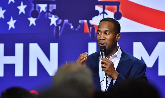 Michigan Republican candidate for U.S. Senate John James concedes the race to Sen. Debbie Stabenow and thanks his supporters at his election night event at James Group International in Detroit.