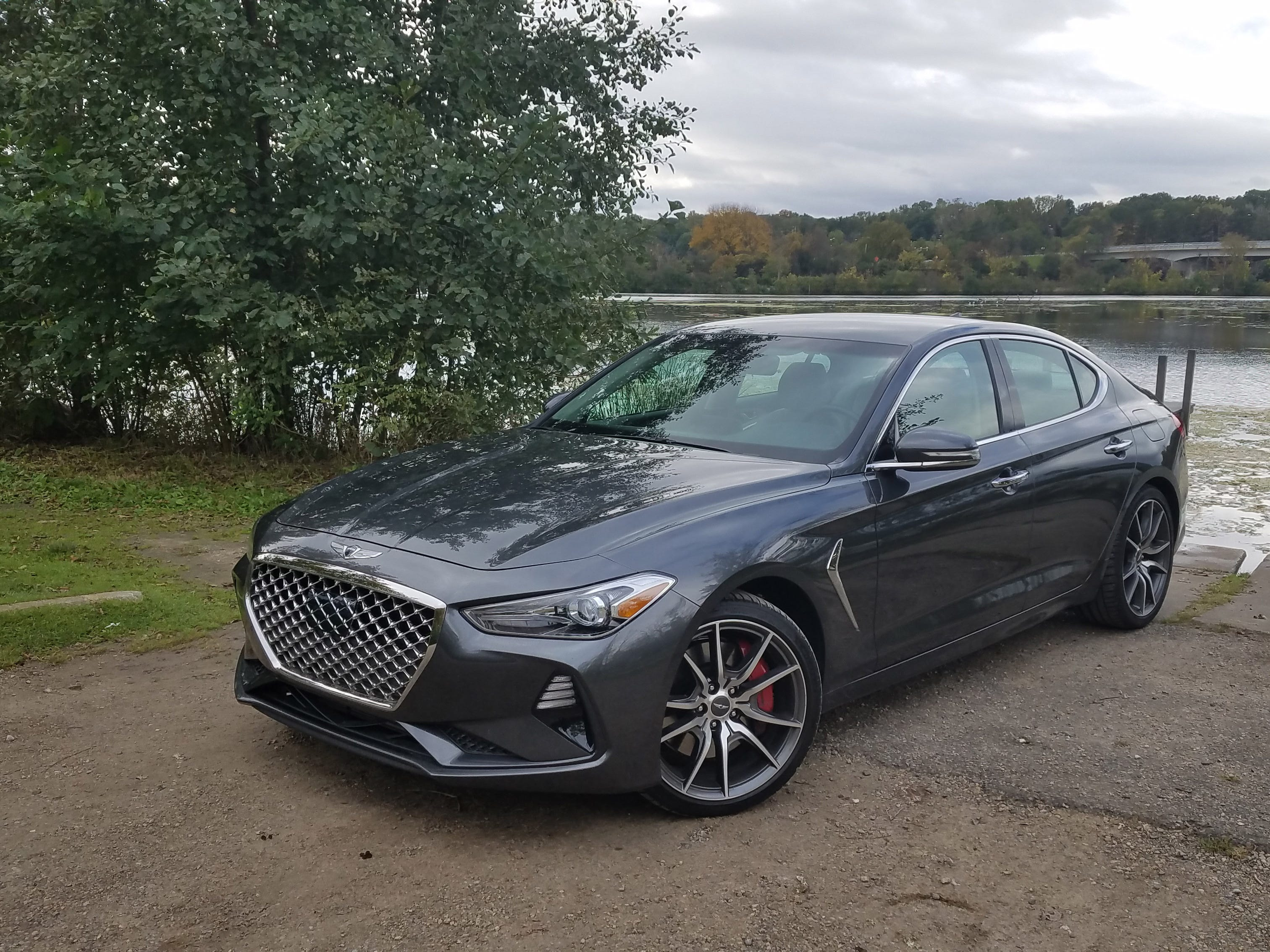Though Michigan lake country, the 2019 Genesis G70 is a joyful escape vehicle with comfortable seats and nimble, corner-carving capability.