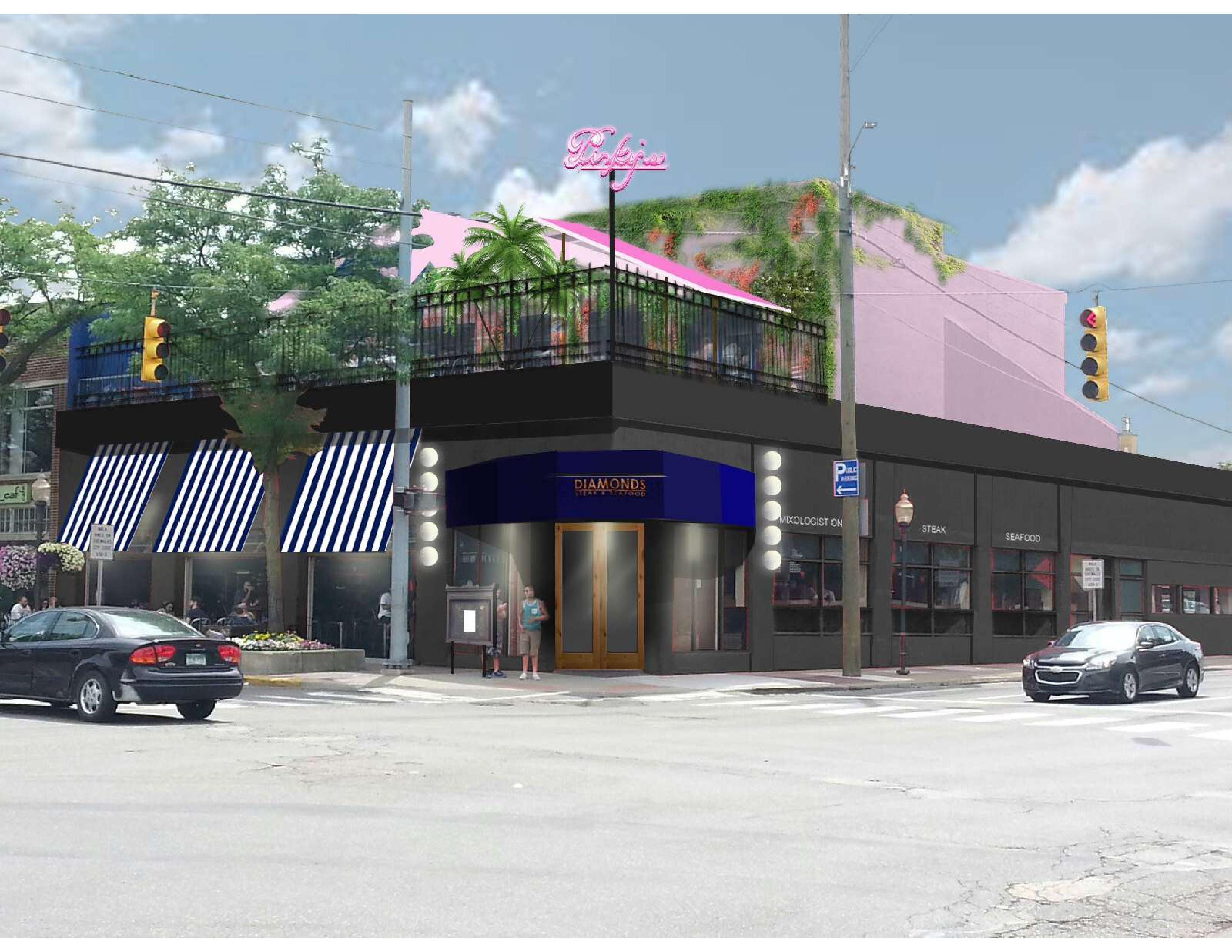 A rendering of Diamonds Steak & Seafood, which is now open in Royal Oak. Pinky's roof top restaurant will follow.