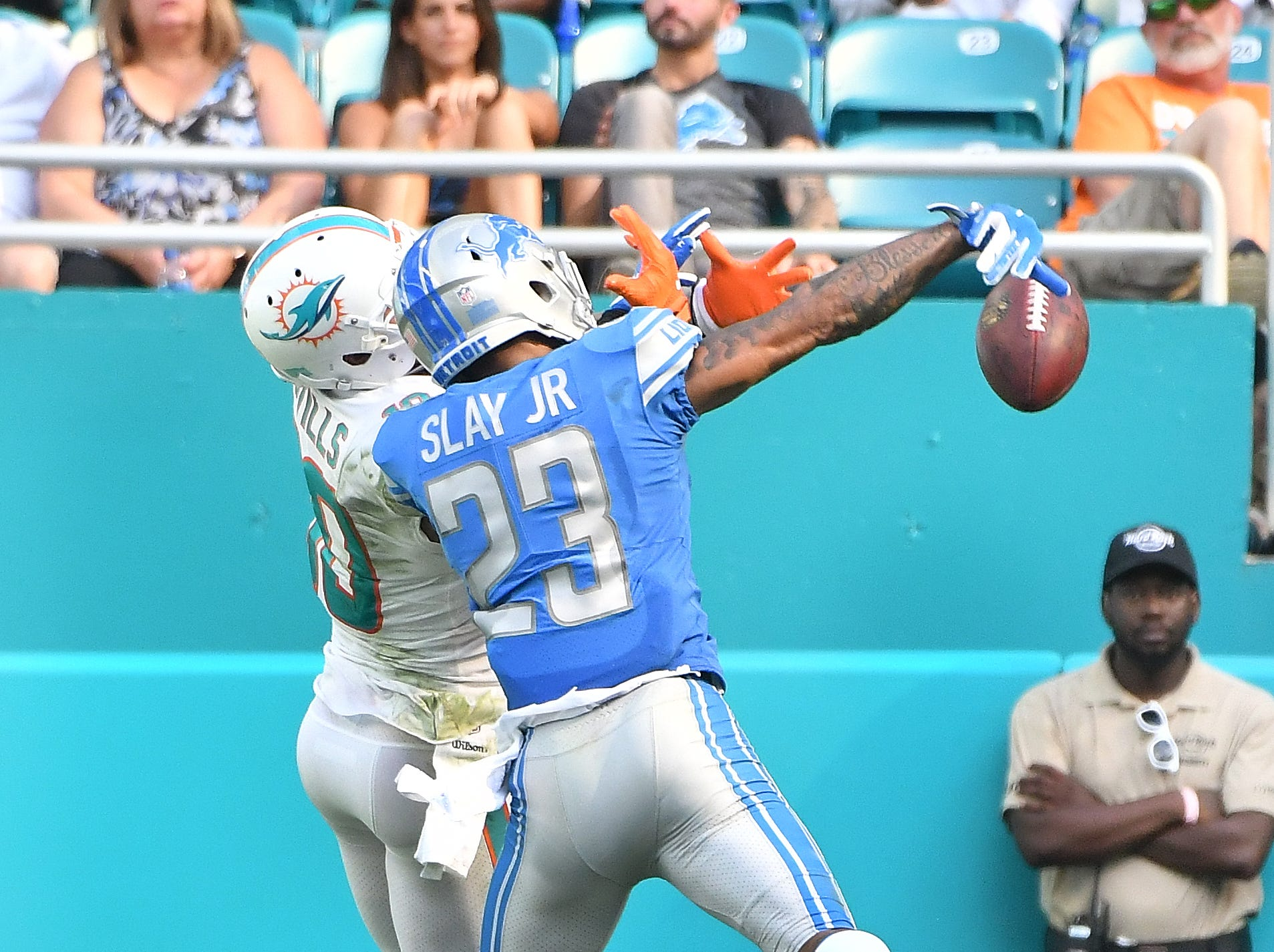 CB Darius Slay: Slay has come away with two of Detroit's three interceptions, and continues to be the team's most-reliable cover corner, but he's not playing anywhere near the Pro Bowl level he did a year ago. When opponents have challenged him, they've had decent success, completing nearly 70 percent of those targets. He looked particularly bad matched up against Davante Adams in Week 5. Grade: B