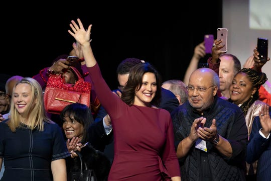 Gretchen Whitmer takes the stage after being elected the next governor of Michigan at the Michigan Democratic Party  election night event at the Sound Board Theater at Motor City Casino in Detroit, November 6, 2018.