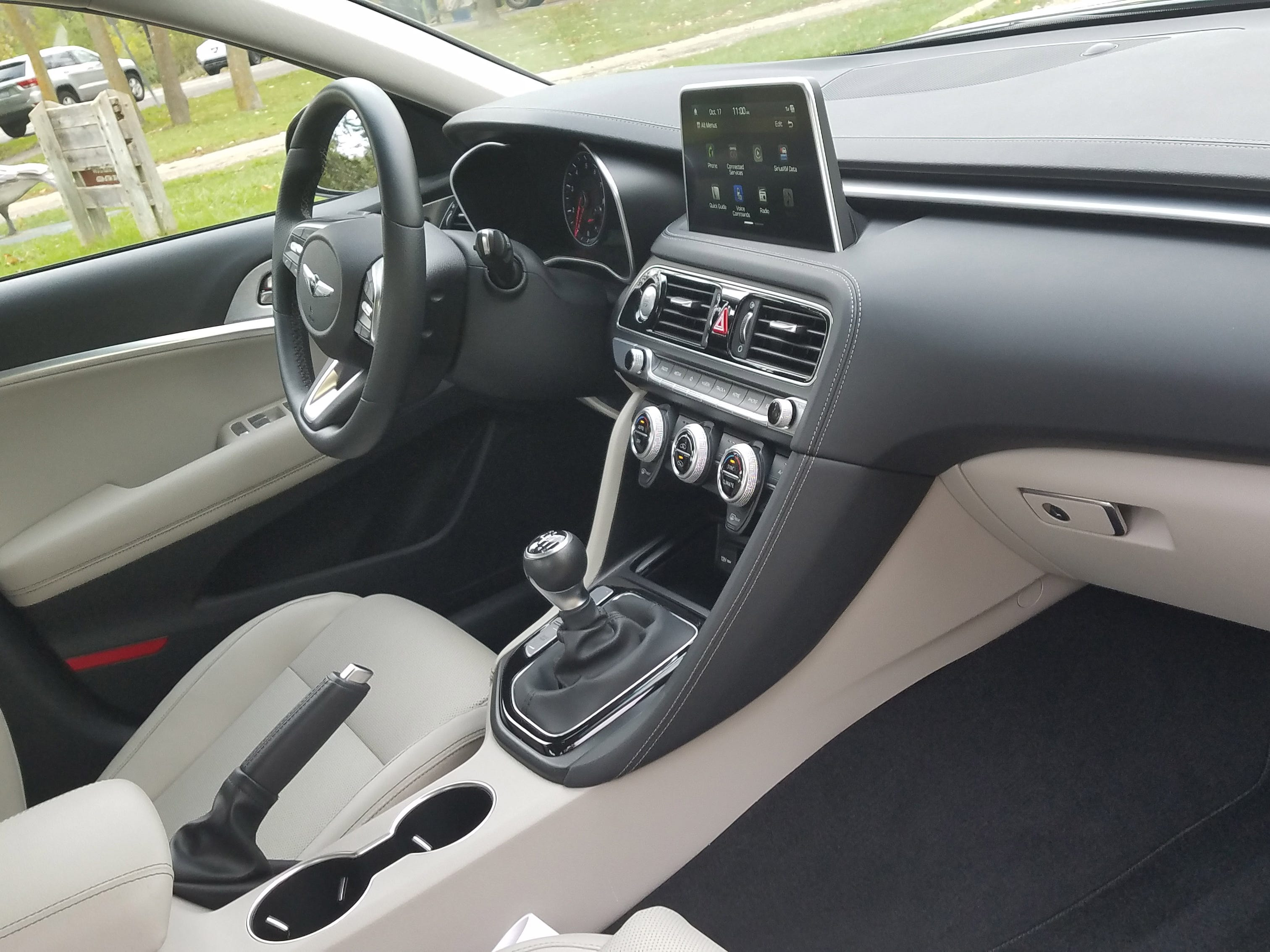 Hyundai and its premium Genesis brand have become synonymous with tasteful, Audi-like interiors. The high console touch screen aids driver visibility while the knobs make cabin operation intuitive.