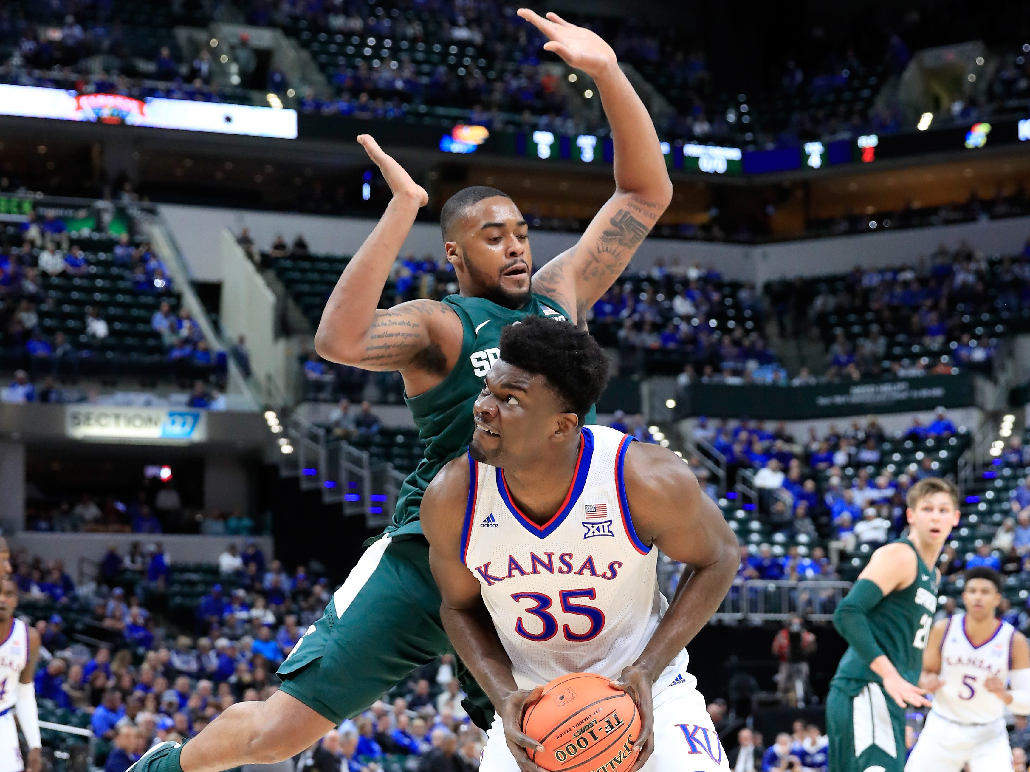 Udoka Azubuike (35) of the Kansas Jayhawks shoots the ball against the Michigan State Spartans during the State Farm Champions Classic at Bankers Life Fieldhouse on November 6, 2018.