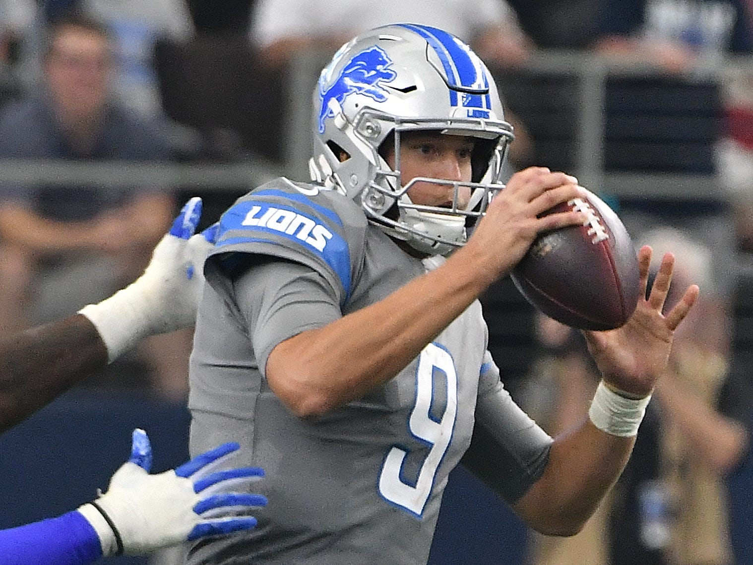 QB Matthew Stafford: It's been a fairly standard season for Stafford, outside the season-opener, where he imploded, throwing four interceptions. There have been a couple other costly ball security moments, including a fumble in San Francisco and the silly pitch against the Vikings. Otherwise, the completion percentage is above 67 percent and passer rating is 96.5. That'll play in the pass-happy NFL. Grade: B