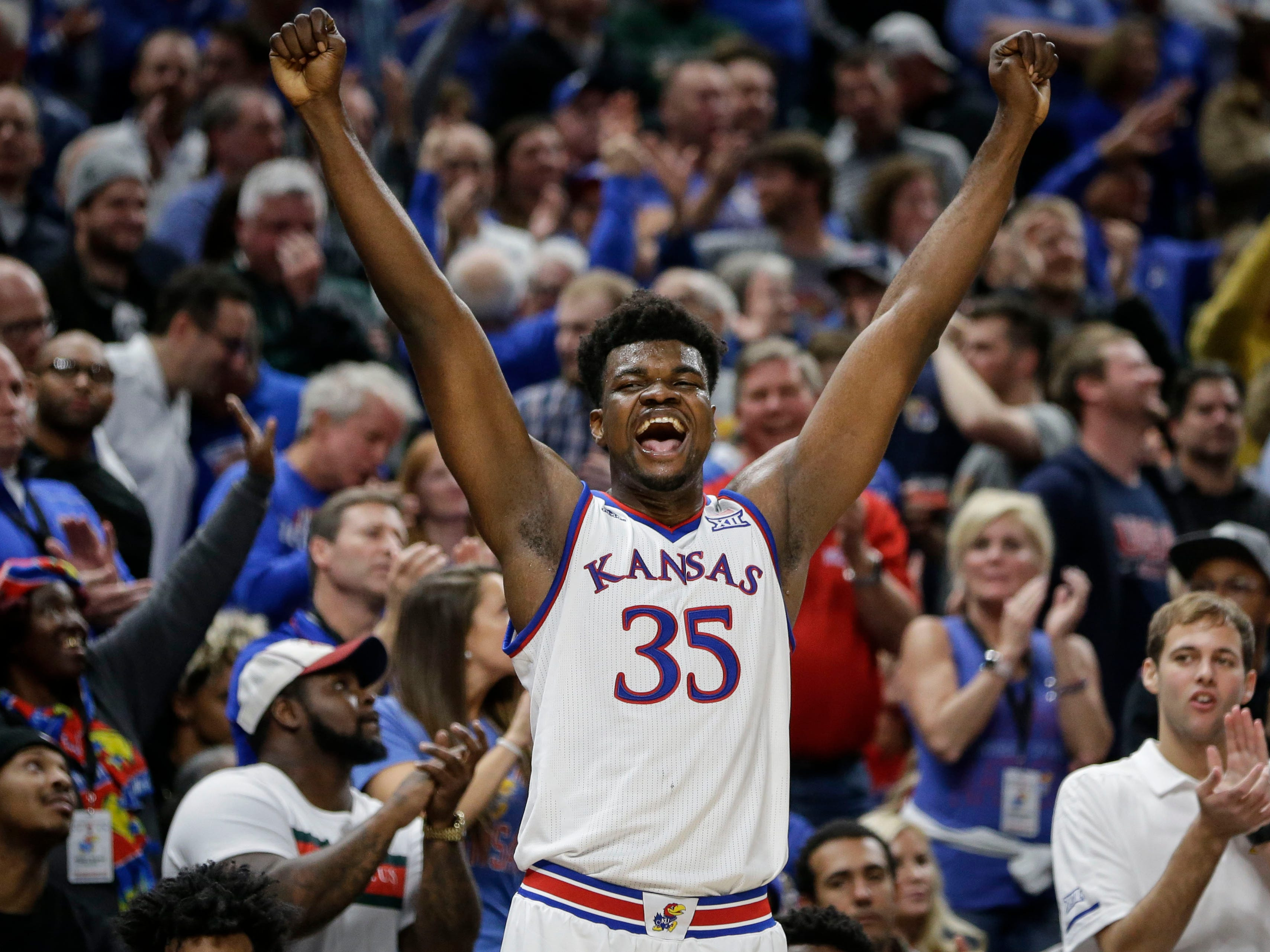 Kansas center Udoka Azubuike (35) reacts to Michigan State committing a foul late in the second half of an NCAA college basketball game at the Champions Classic in Indianapolis on Tuesday, Nov. 6, 2018. Kansas won 92-87.