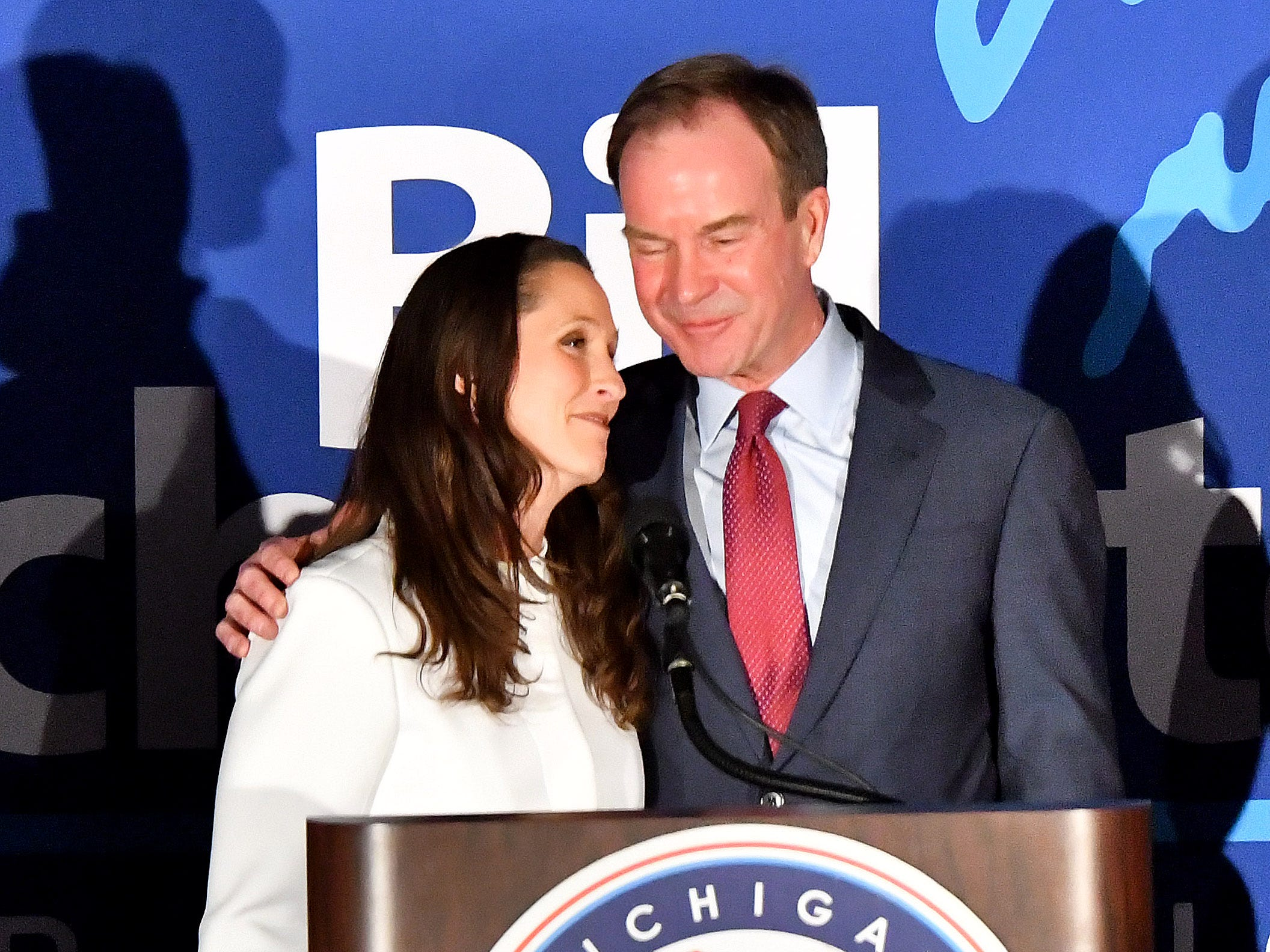 Bill Schuette and Lisa Posthumus Lyons concede the governor's race as the Michigan GOP gathers at the Lansing Center on Election Night.