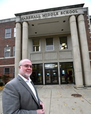 Dr. Randall Davis, superintendent of schools in Marshall, Michigan, explains where a new security vestibule will be constructed at the Marshall Middle School on Wednesday, Nov 7, 2018. Security improvements are being funded with a grant from the Michigan State Police. (Dale G.Young/Detroit News) 2018.