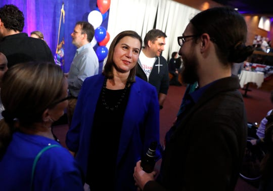 Elissa Slotkin, Democratic candidate for Michigan's 8th Congressional District, attends an election night watch party in Clarkston.