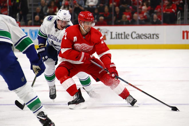 """""""We're rimming the puck too much and we're getting pressured and it's going 200 feet the other way,"""" said Red Wings forward Dylan Larkin on the team's struggling power play."""