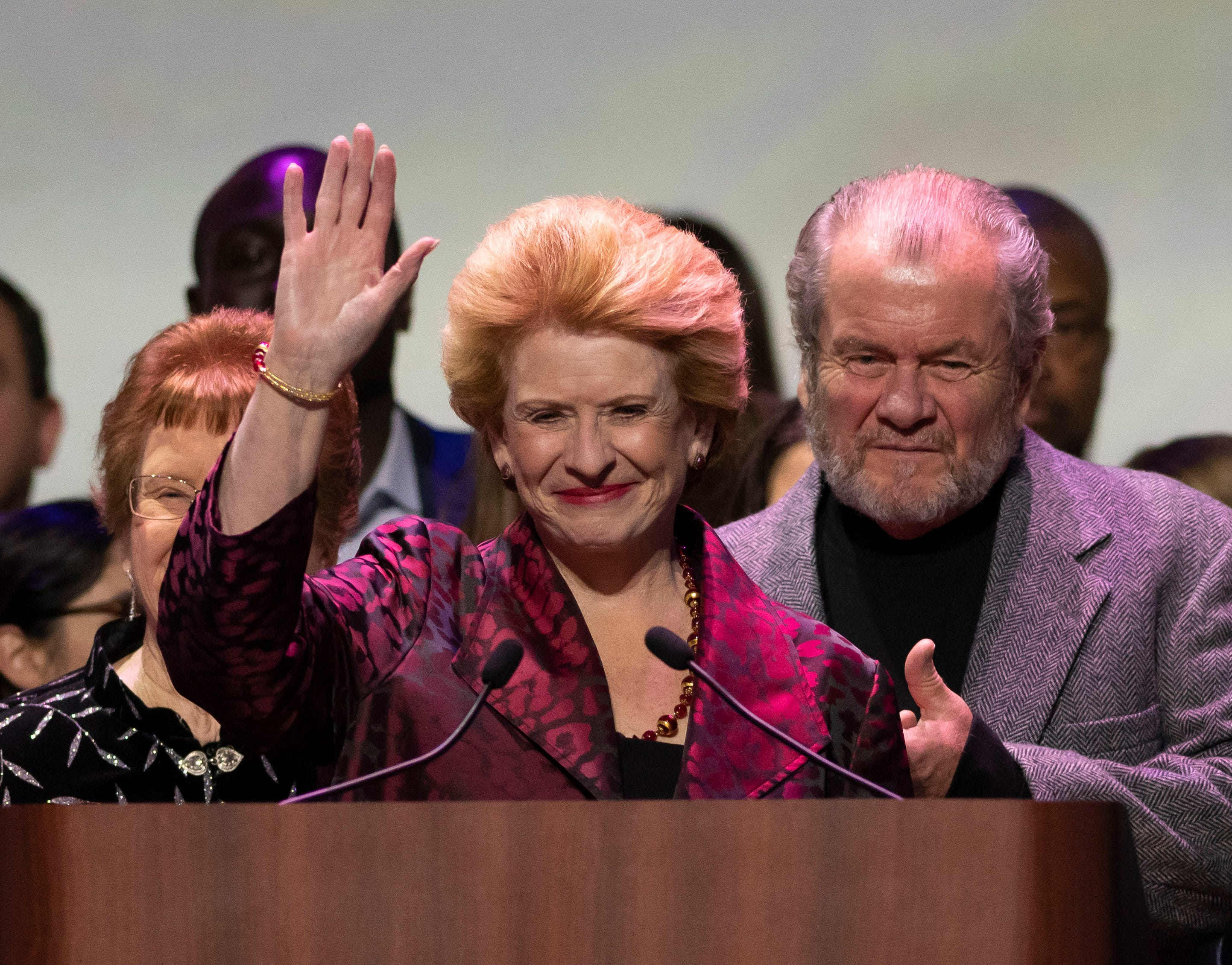U.S. Sen. Debbie Stabenow speaks to the Democratic gathering after being re-elected for another six-year term during a Michigan Democratic Party election night event at the Sound Board Theater at Motor City Casino, in Detroit.