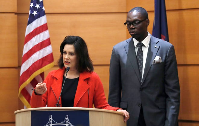 Michigan Governor-Elect Gretchen Whitmer and Lt. Gov.-Elect Garlin Gilchrist II host a post-election news conference, Wednesday morning in Detroit.