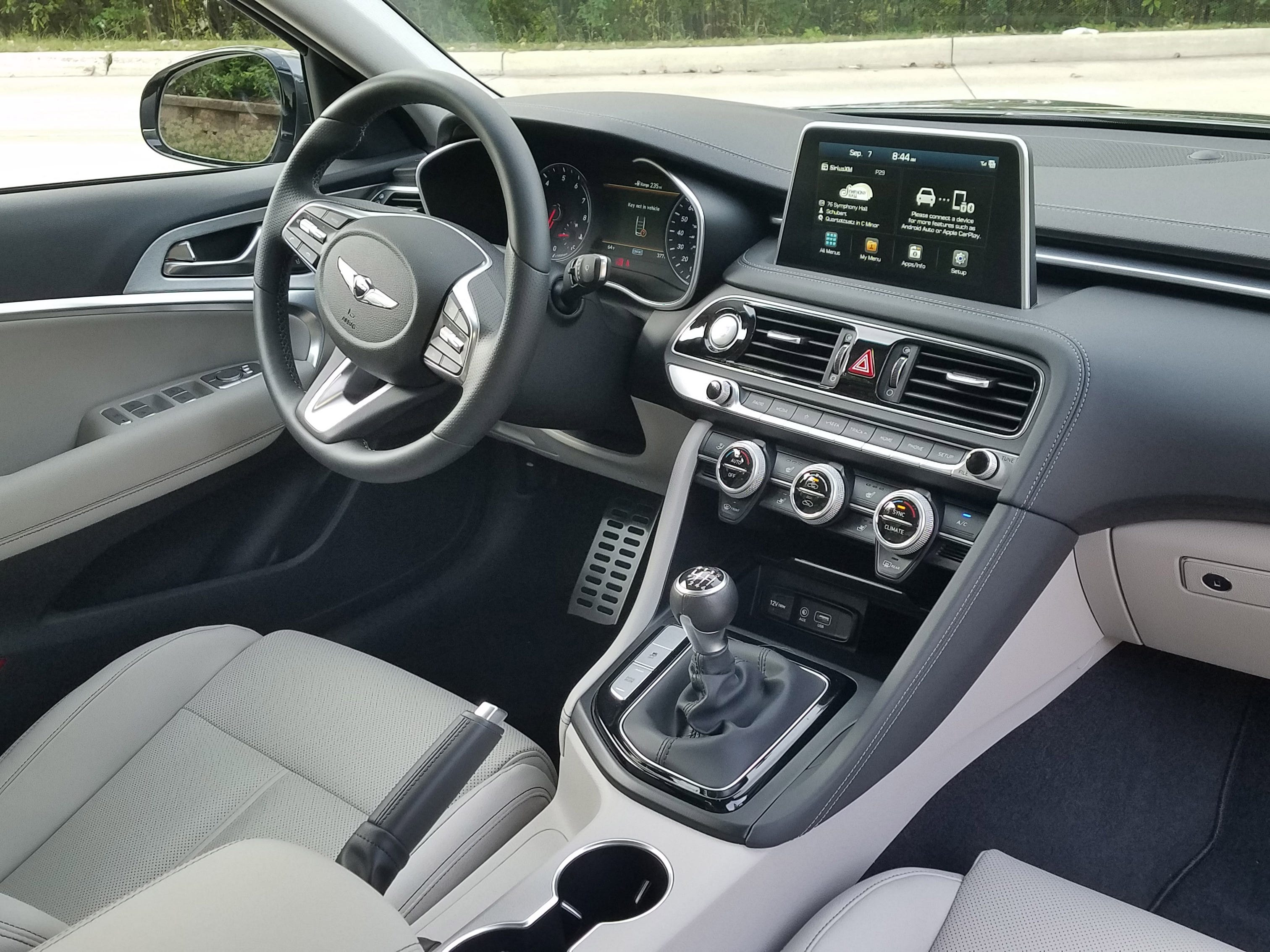 The manual is dead, long live the manual. The 2019 Genesis G70 offers a Sport model that is exclusively equipped with a 6-speed manual transmission. The car is a ball to drive fast - but most owners will opt for the smooth, 8-speed auto tranny.