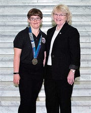 Pennsylvania state Rep. Tina Pickett, right, recently hosted Special Olympian Elizabeth Porter of Bradford County at the state capitol.