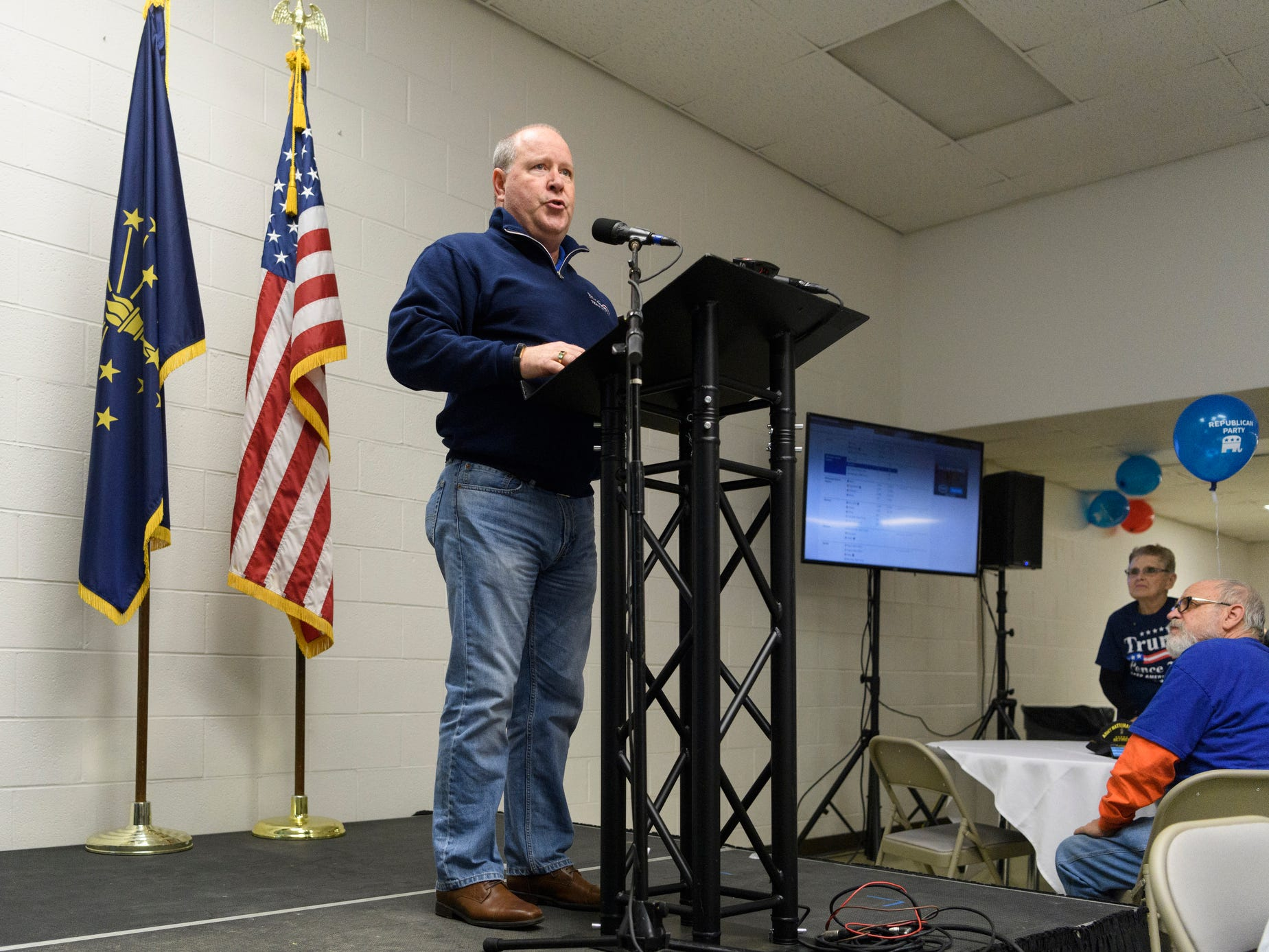 Rep. Larry Bucshon thanks voters in attendance at the Republican watch party held inside the C K Newsome Community Center in Evansville, Ind., Tuesday, Nov. 6, 2018. He successfully kept his seat in the Indiana 8th District U.S House race against Democrat William Tanoos.