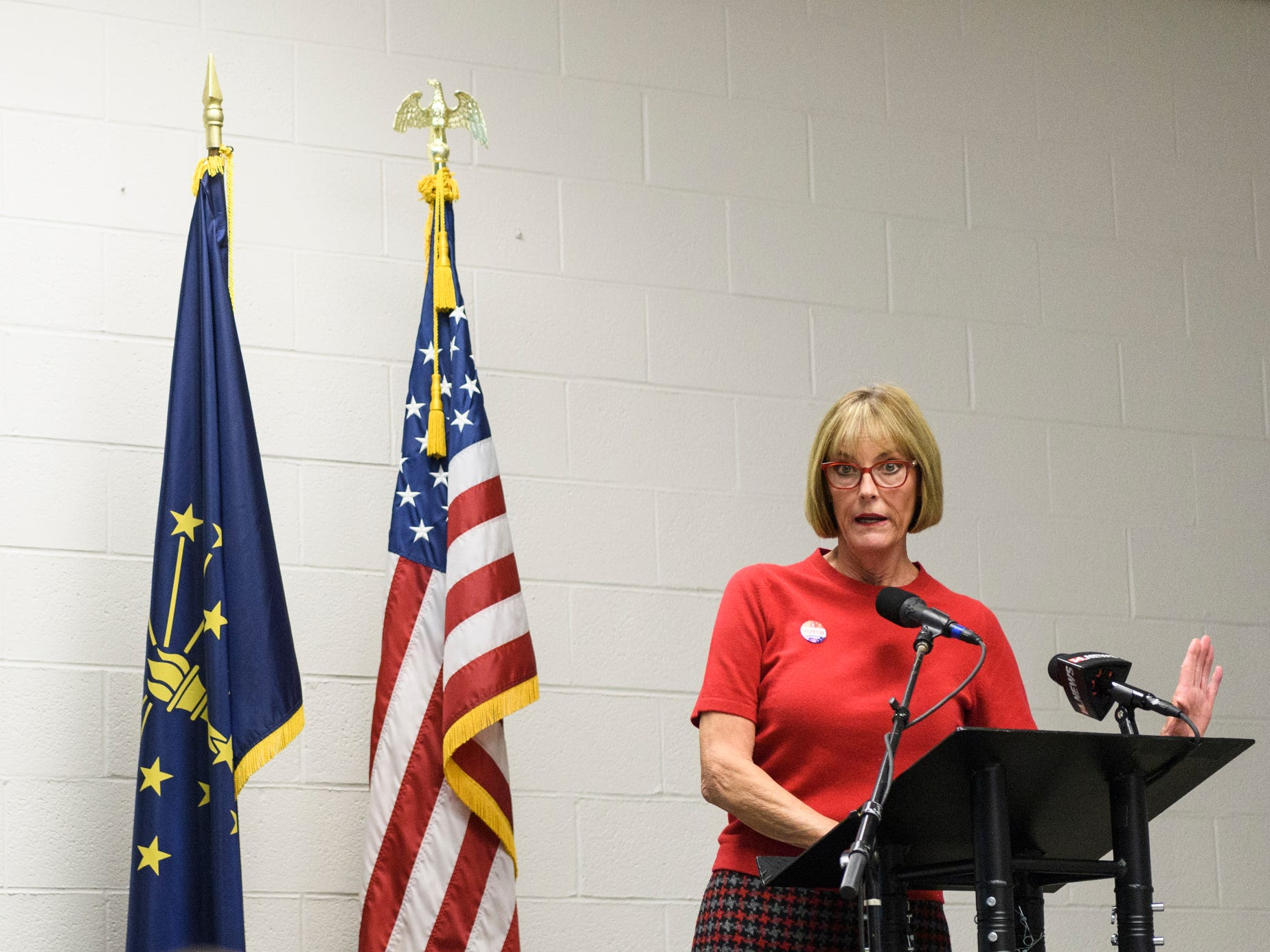 Lt. Governor Suzanne Crouch addresses the crowd attending the Republican watch party at the C K Newsome Community Center in Evansville, Ind., Tuesday, Nov. 6, 2018.