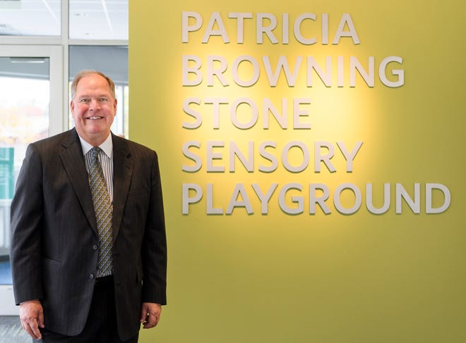 William Stone attends the blessing and dedication ceremony for the Patricia Browning Stone Sensory Playground inside the St. Vincent Center for Children in Evansville, Ind., Monday, Nov. 5, 2018.