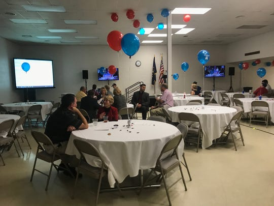Supporters and candidates with the republican party gather at the C.K. Newsome Center waiting for results to come in.