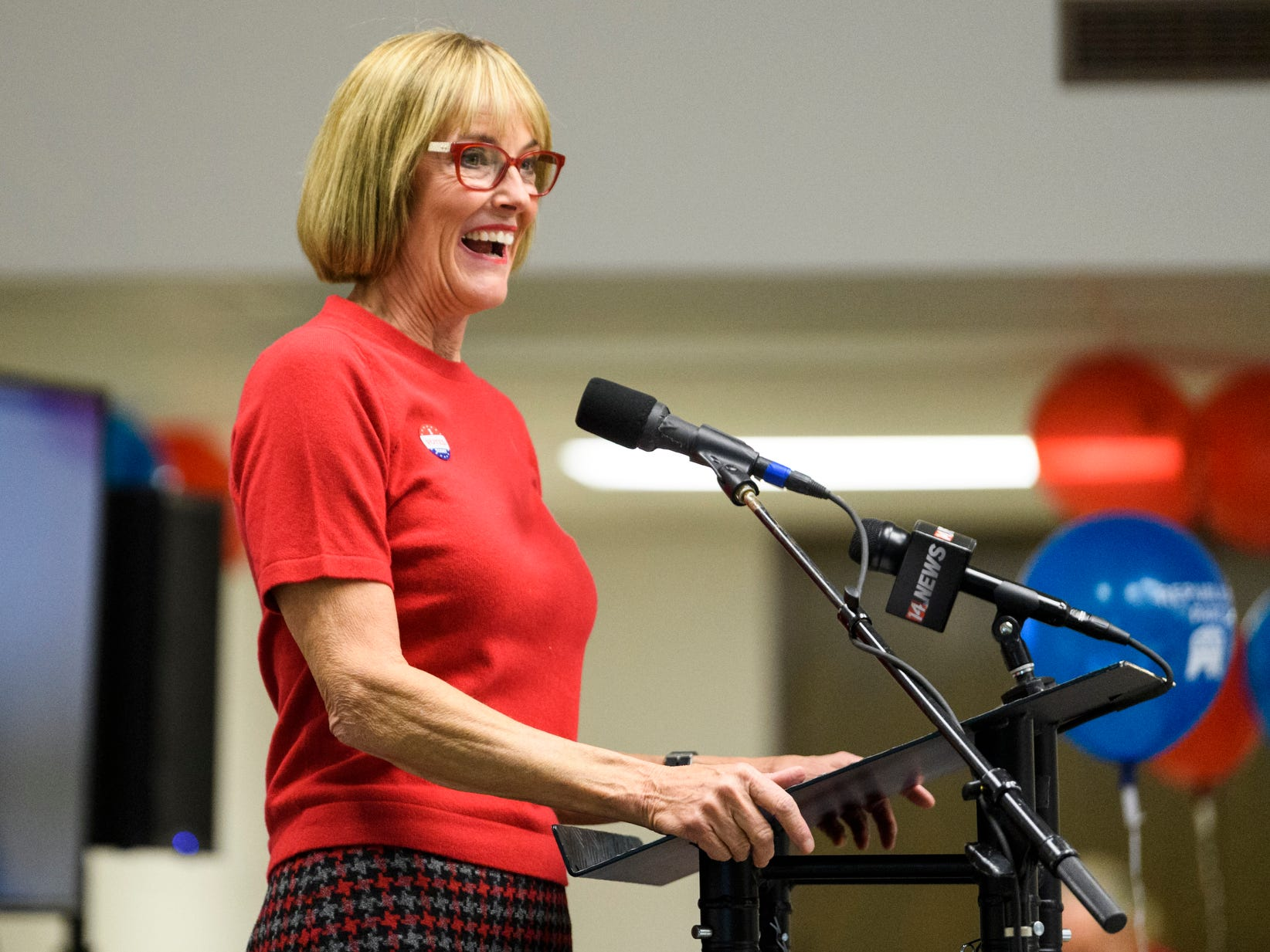 Lt. Governor Suzanne Crouch addresses the crowd during the Republican watch party at the C K Newsome Community Center in Evansville, Ind., Tuesday, Nov. 6, 2018.