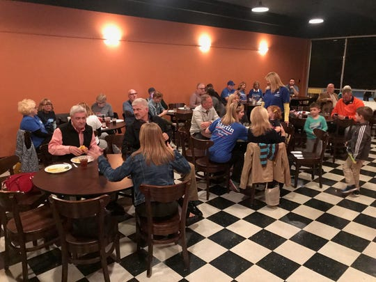 Democratic supporters and candidates gather at DiLegge's Restaurant Tuesday night.