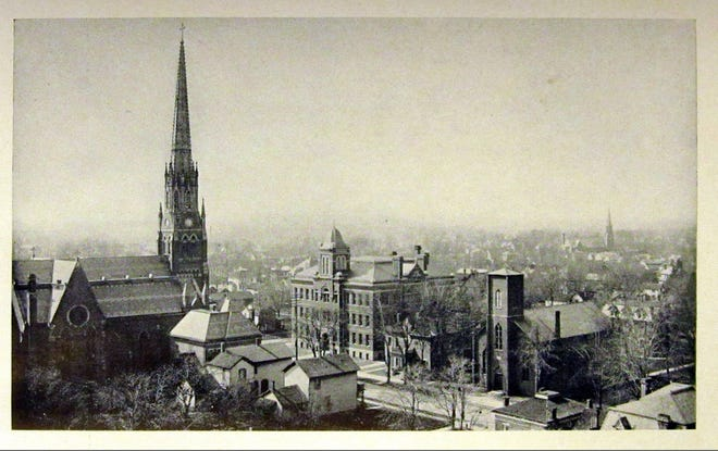An aerial view of St. Joseph's Catholic Church in the early 1900s.