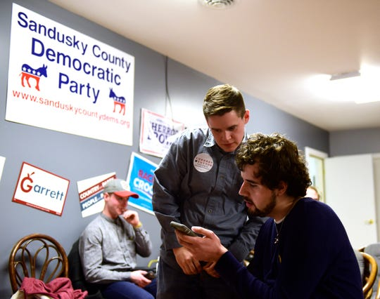 Democrat Devin Black, left, who lost his bid for Sandusky County Commissioner, talks with his campaign treasurer, Colton Veler of Fremont, at the Sandusky County Democratic headquarters on Tuesday night.