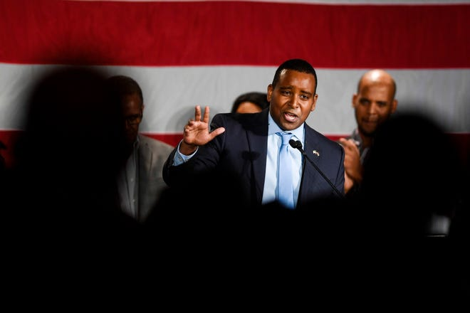 Joe Neguse, the newly elected congressman in Colorado's 2nd congressional district, speaks to supporters during the Democratic election night party in Denver on Tuesday, Nov. 6, 2018. Neguse became Colorado's first black congressman. (Aaron Ontiveroz/The Denver Post via AP)