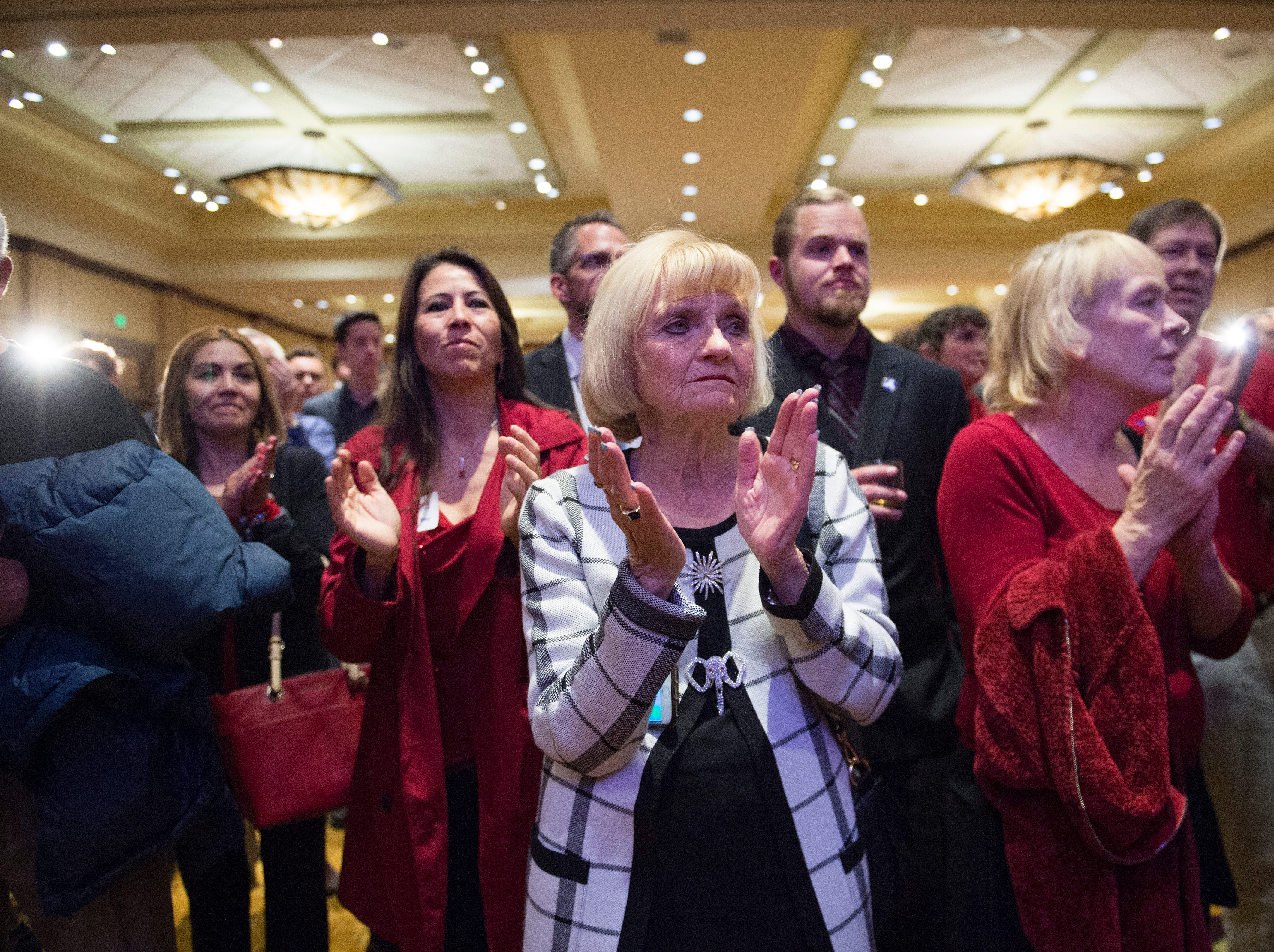 A crowd of supporters applaud after Republican candidate for Colorado governor Walker Stapleton gives a concession speech during a Colorado GOP watch party at the Denver Marriott South at Park Meadows in Lone Tree on Election Day, Tuesday, November 6, 2018.