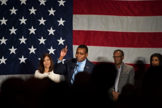 Colorado 2nd congressional district candidate Joe Neguse speaks to a crowd during Jared Polis' election watch party on Tuesday, Nov. 6, 2018, at the Westin Denver Downtown hotel in Denver, Colo.